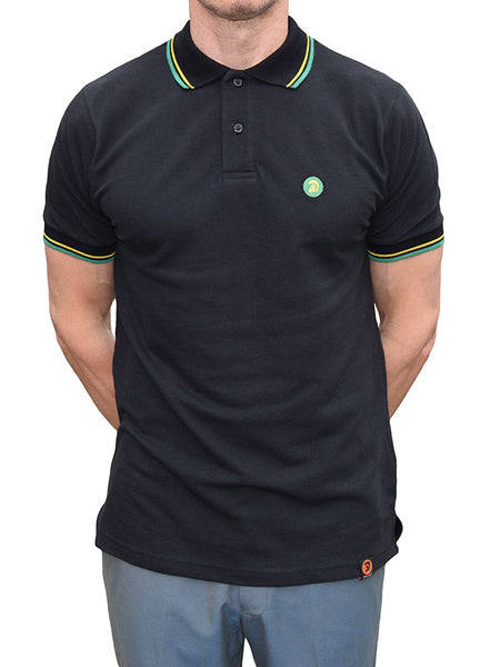 Trojan Records Black Jamaica Tipped Polo Shirt