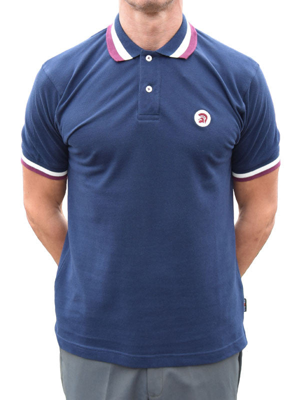 Trojan Records Navy Three Stripe Trim Polo Shirt