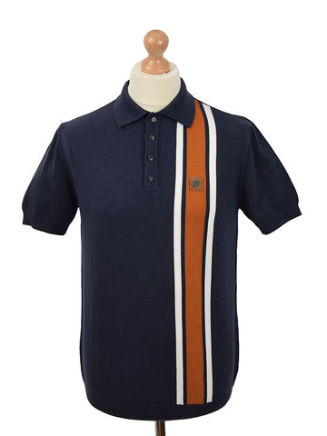 Trojan Records Navy Front Stripe Polo Shirt