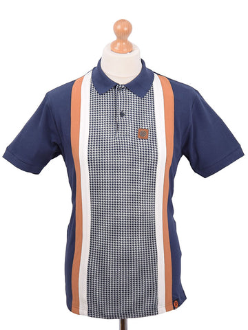 Trojan Records Navy Houndstooth Front Panel Stripe Polo Shirt