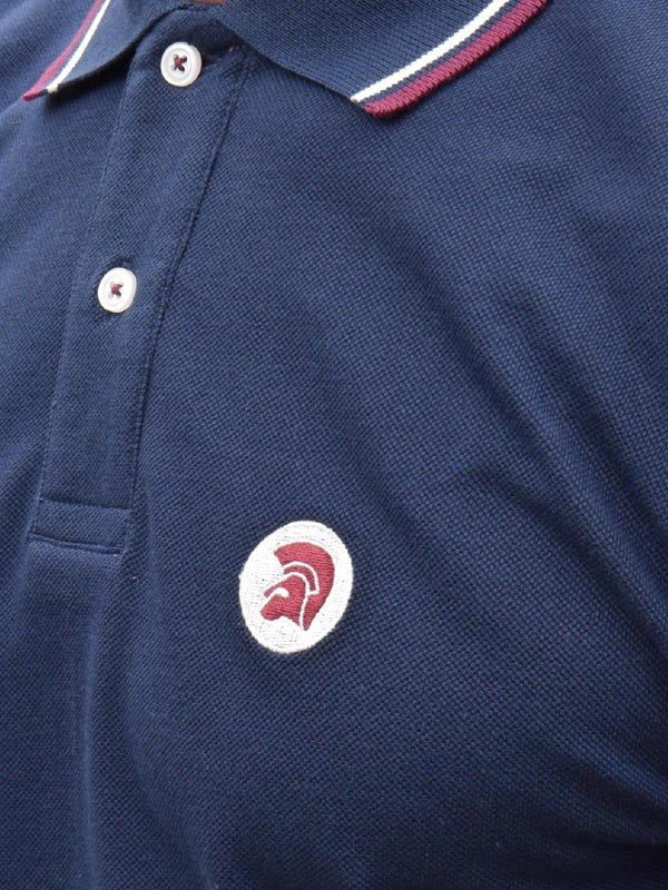 Trojan Records Navy Tipped Polo Shirt