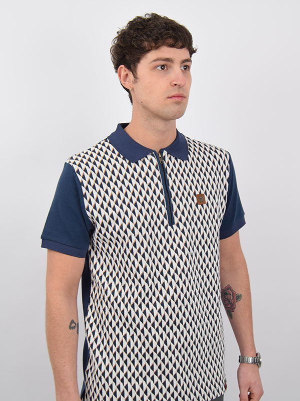 Trojan Records Navy Jacquard Diamond Zip Polo Shirt