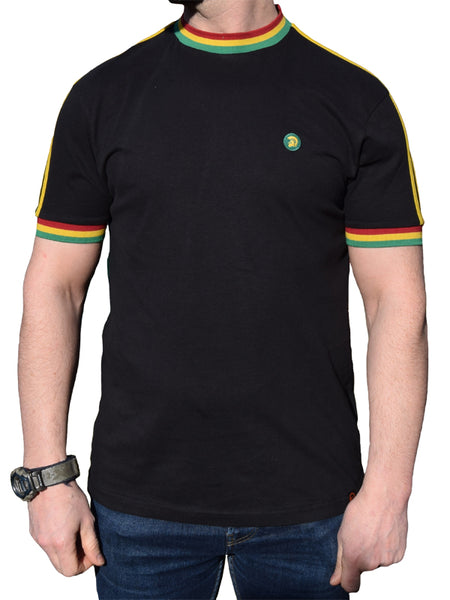 Trojan Records Black Twin Stripe Rasta T Shirt