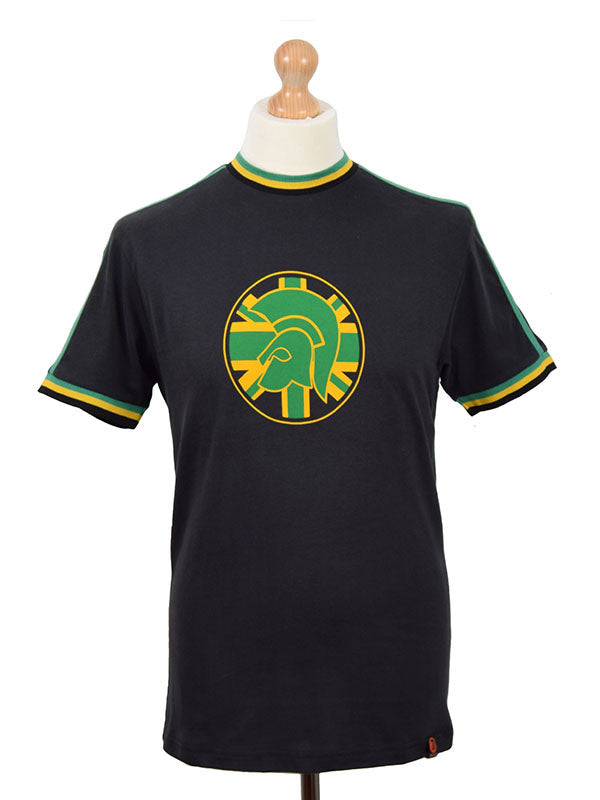 Trojan Records Black Jamaica Twin Stripe Logo T Shirt