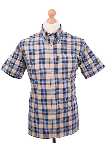 Trojan Records Stone & Navy Tartan Shirt