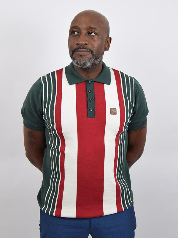 Trojan Records Forest Green Front Stripe Polo Shirt