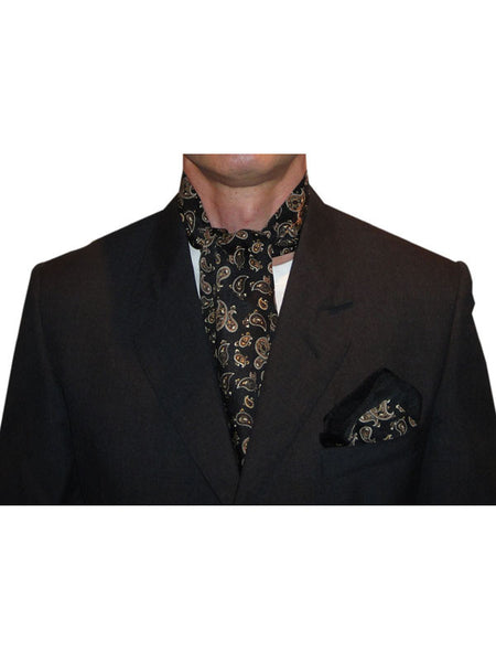 Warrior Black & Gold Paisley Cravat & Handkerchief Set