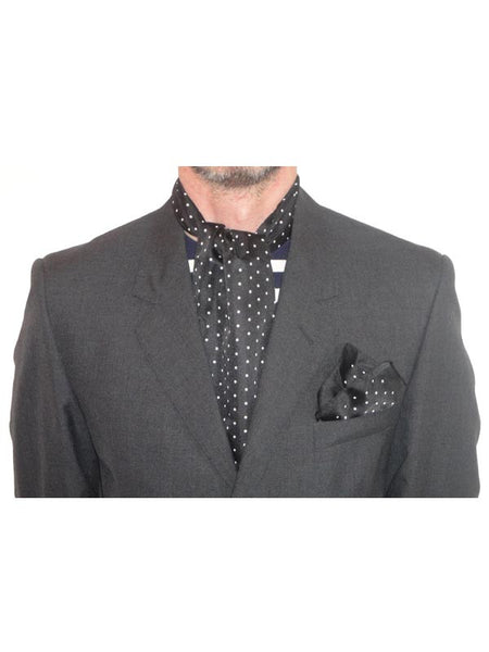 Warrior Black Polka Dot Cravat & Handkerchief Set
