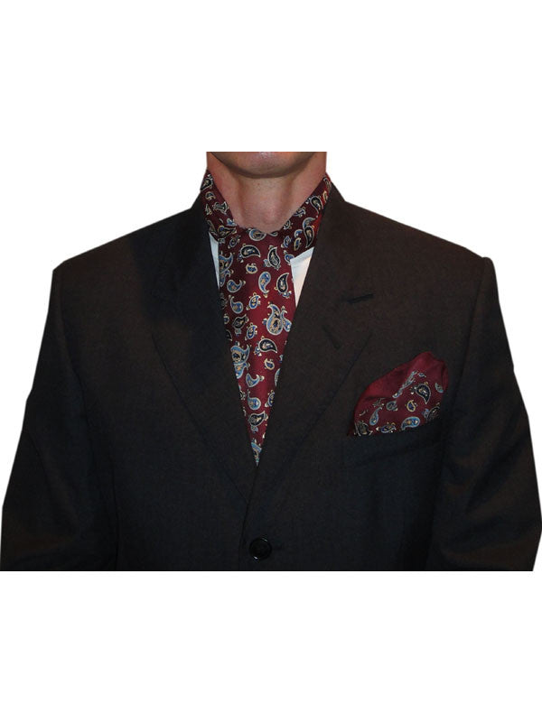 Warrior Burgundy Paisley Cravat & Handkerchief Set