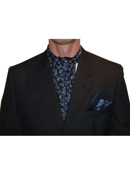 Warrior Navy & Blue Paisley Cravat & Handkerchief Set