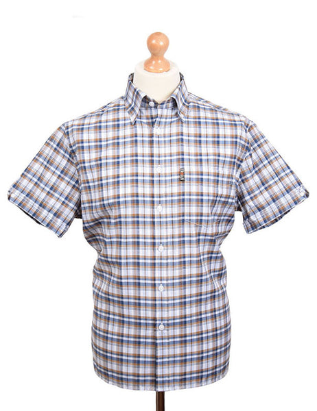 Trojan Records White Blue & Golden Tan Check Shirt With Handkerchief