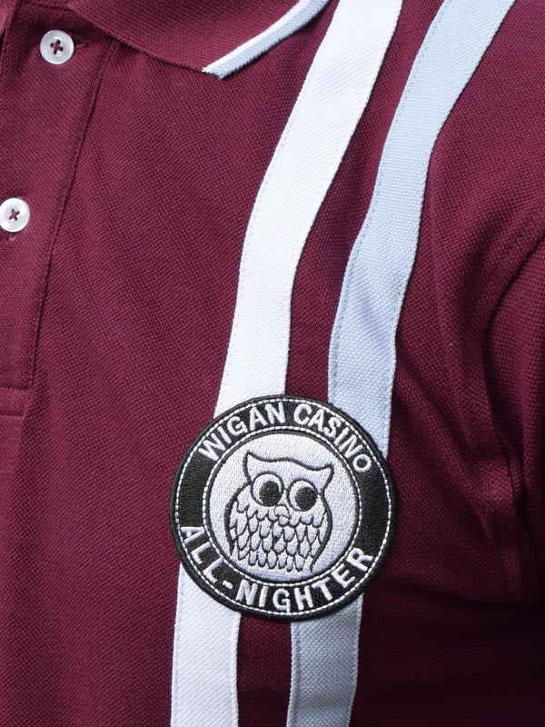Wigan Casino Maroon Twin Stripe Badged Polo Shirt
