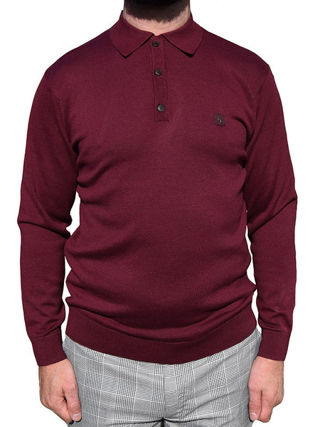 Gabicci Vintage Merlot Long Sleeve Polo Shirt