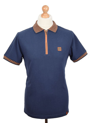 Trojan Records Navy Houndstooth Trim Zip Polo Shirt