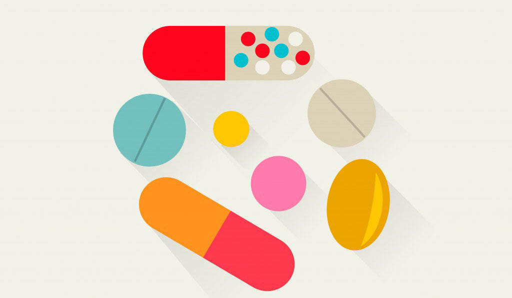 Vector art of different Vitamin tablets