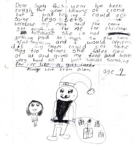 Child's handwritten letter to Santa