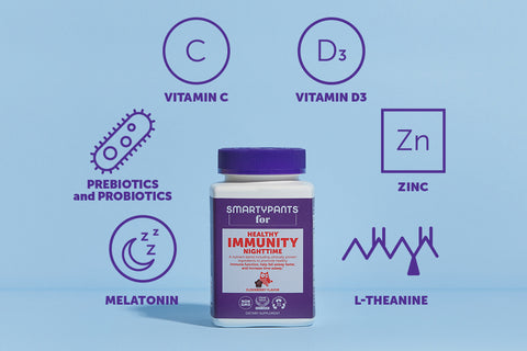 SmartyPants Immunity Nighttime Formula surrounded by ingredient names and representative icons.
