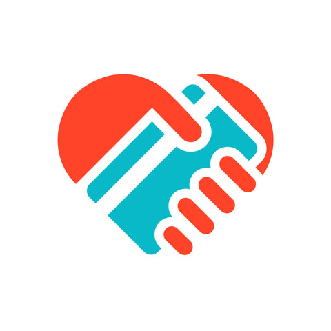 Coin up logo with red hand holding blue card in the shape of a heart