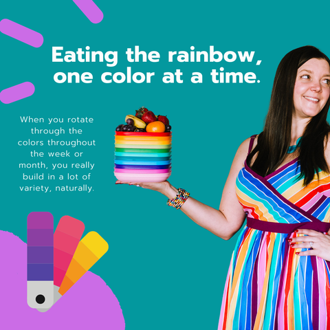 Kelly Pfeiffer, a woman with long brown hair with a rainbow dress, holds a stack of rainbow plates and fruit piled on top. There are some fun colorful purple line doodles on a teal background. There is also text on the image encouraging kids to eat different colored foods.