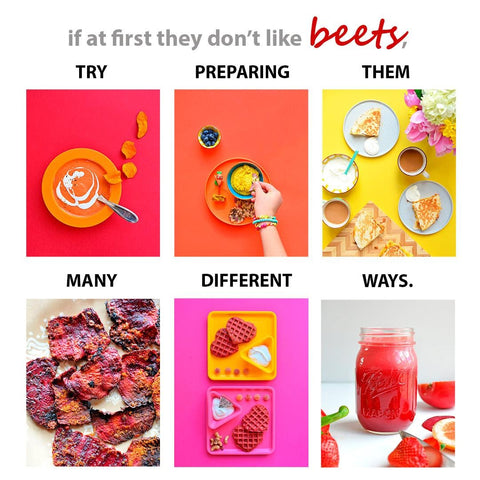 """Graphic that says """"If at first they don't like beets, try them many different ways."""" The graphic has six squares showing different ways to incorporate beets. The ways are: soup, a dip, quesadillas, roasted beet slices, the waffles from this recipe, and a juice."""