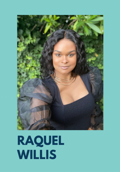 Photo of Raquel Willis. She is sitting outside inn front of a green bush, in a black top with sheer puffy sleeves. Her hair is down, shoulder length. The photo is on a teal background with her name, Raquel Willis under the photo.
