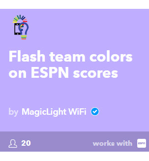 flash team colors on ESPN scores smart bulb