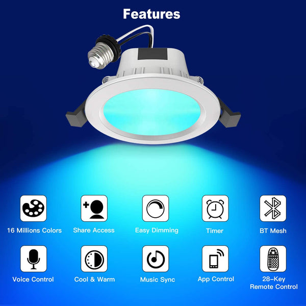MagicConnect Bluetooth Downlight 60 Watt (4 Pack) - includes HUB and Remote