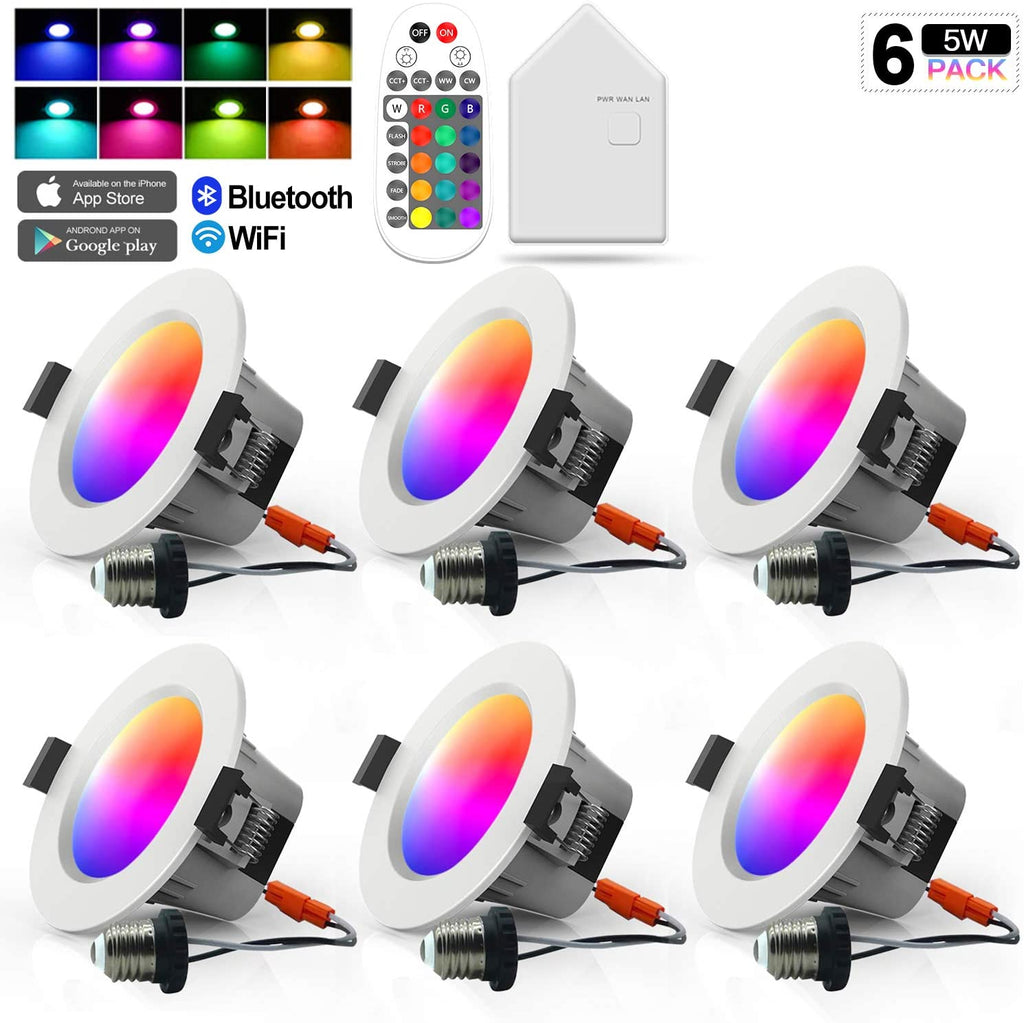 MagicConnect Bluetooth Downlight 60 Watt (6 Pack) - includes HUB and Remote