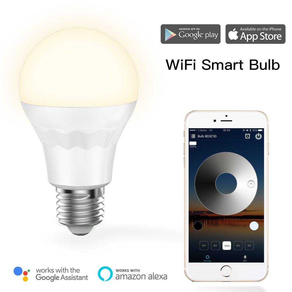 WiFi Soft White Dimmable LED Light Bulb Works with Alexa & Google Home Assistant