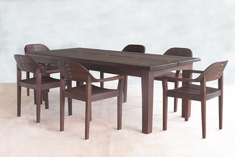 Rosita Walnut Dining Room Table and Chairs