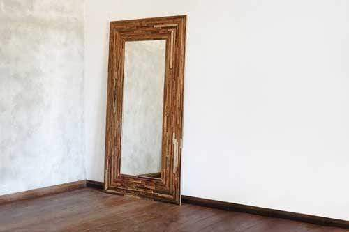 Geo Hall Large Mirror - Mixed Tropical Hardwood Frame - Masaya & Co.  - 1