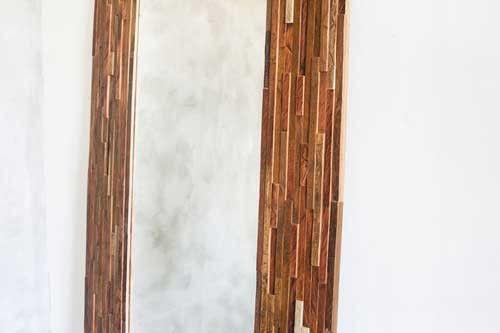 Geo Hall Large Mirror - Mixed Tropical Hardwood Frame - Masaya & Co.  - 3