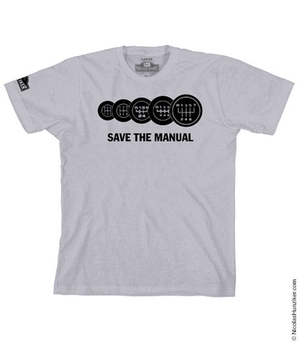 SAVE THE MANUAL Graphic Tee - Silver