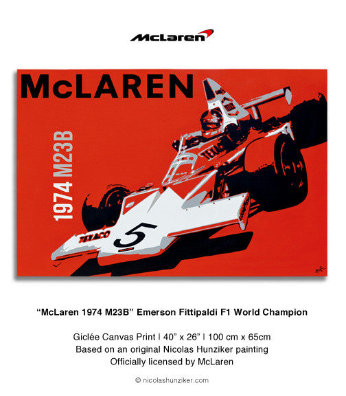 McLaren 1974 M23B - Emerson Fittipaldi - Canvas Print