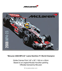 McLaren 2008 MP4-23 - Lewis Hamilton - Canvas Print