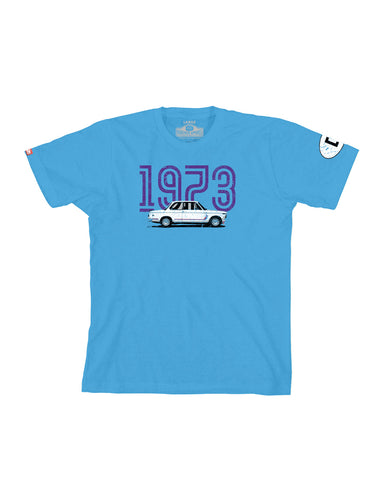Germany 1973 BMW 2002 Graphic Tee - Blue