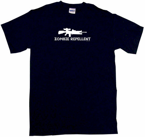 Zombie Repellent M16 Machine Gun Logo Tee Shirt OR Hoodie Sweat