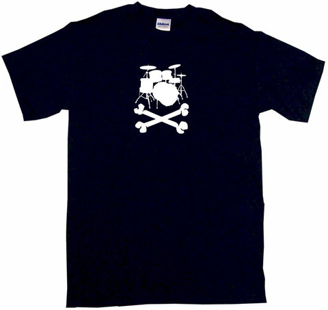 Drum Set Pirate Skull Cross Bones Tee Shirt OR Hoodie Sweat