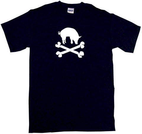Pig Silhouette BBQ Style Logo Pirate Skull Cross Bones Tee Shirt OR Hoodie Sweat