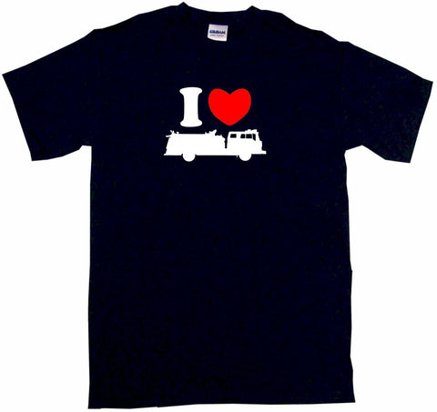 I Heart Love Fire Truck Silhouette Tee Shirt OR Hoodie Sweat