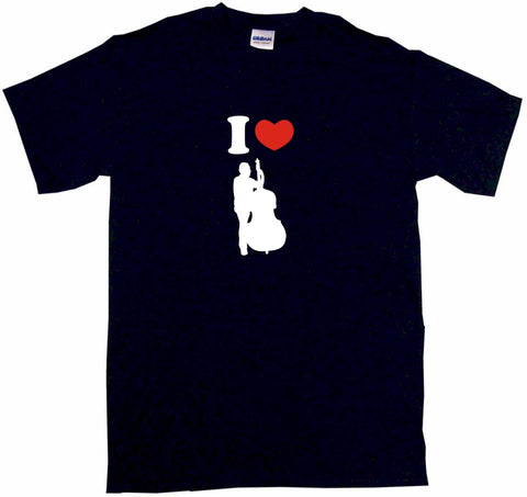 I Heart Love Upright Bass Player Silhouette Tee Shirt OR Hoodie Sweat
