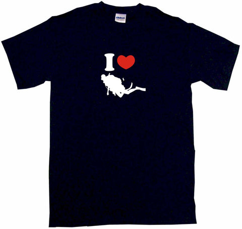 I Heart Love Scuba Diver Logo Tee Shirt OR Hoodie Sweat