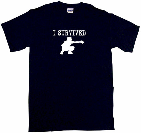 I Survived Baseball Catcher Logo Tee Shirt OR Hoodie Sweat