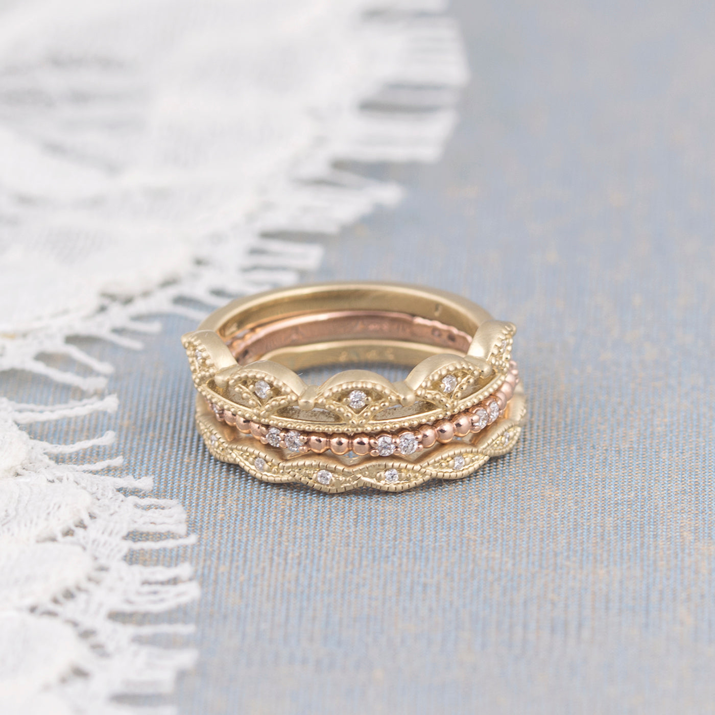 crown stacking ring rose gold