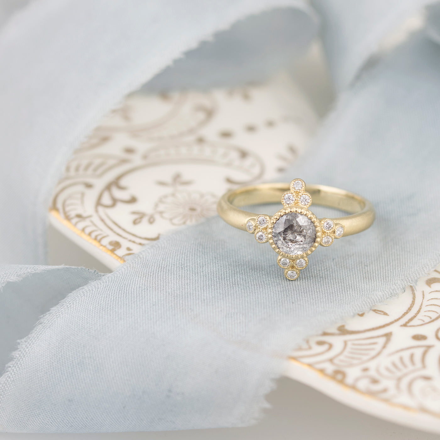 Grey Rose Cut Diamond Engagement Ring