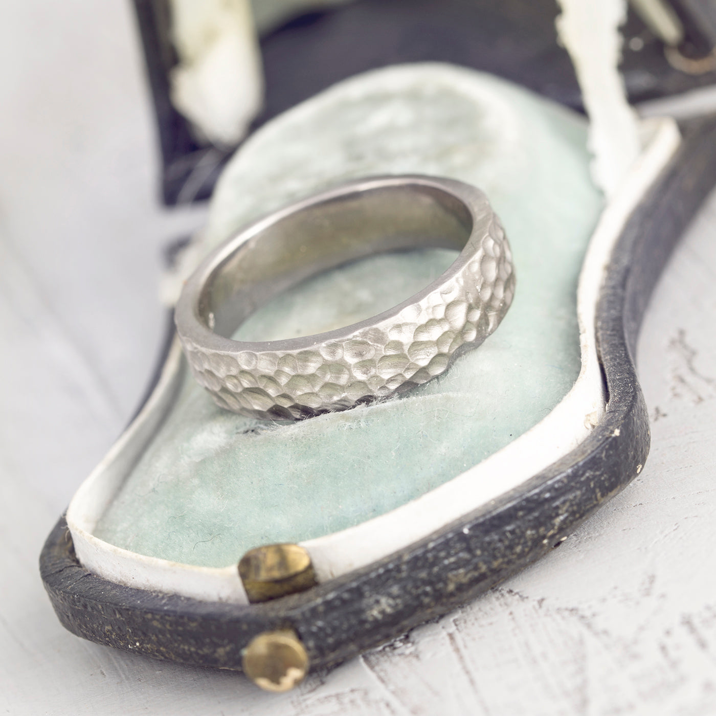 Mens Hammered White Gold Wedding Ring Rough Luxe Fine Jewelry