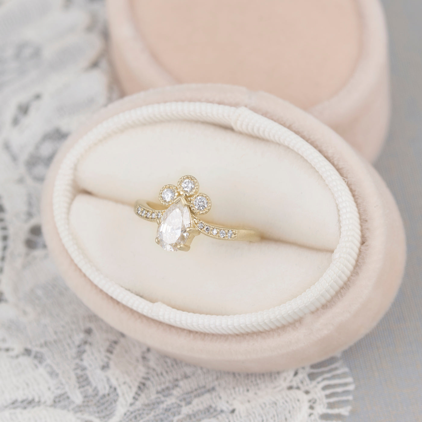 single rings diamond and shaped halo cut birks pear ring en engagement angle band with