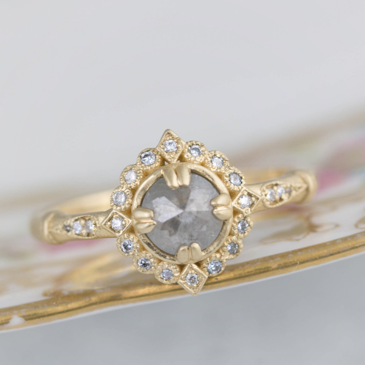 Grey Rose Cut Diamond Halo Ring