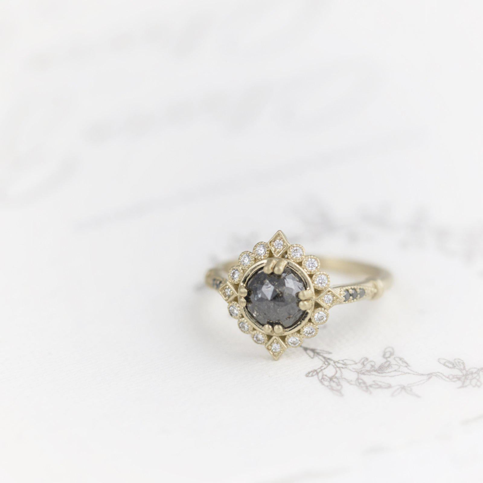 gray diamond halo engagement ring