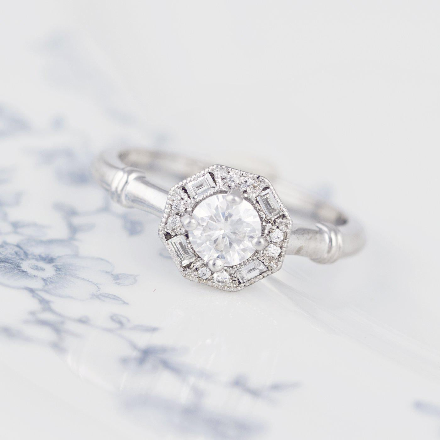 Art Deco Halo Baguette Engagement Ring
